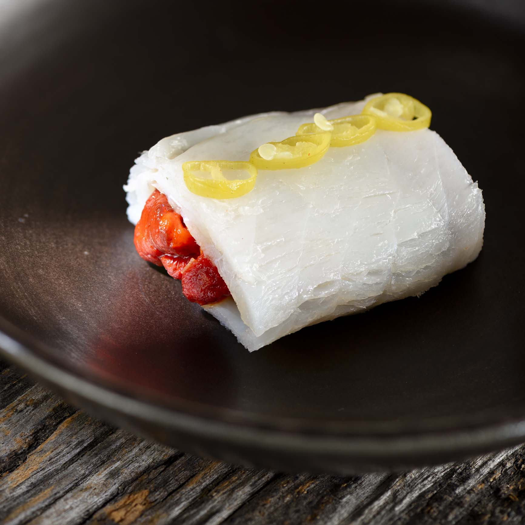 Smoked cod stuffed with roasted peppers and Piparra de Ibarra with Eusko Label