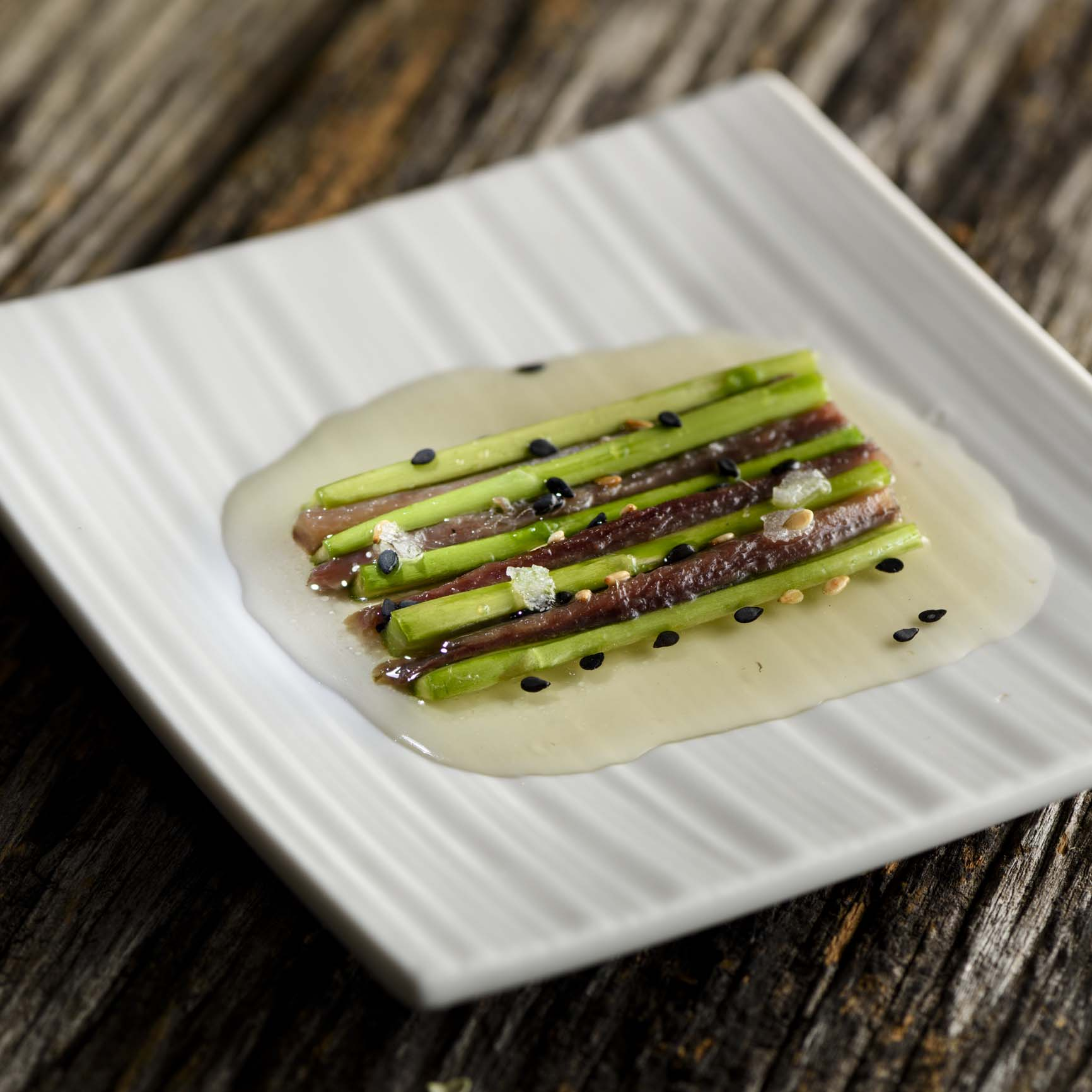 Basque Cantabrian Anchovy with asparagus and a sesame vinaigrette